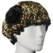 Kella Milla Stylish Satin Shower Cap - Brown Leopard