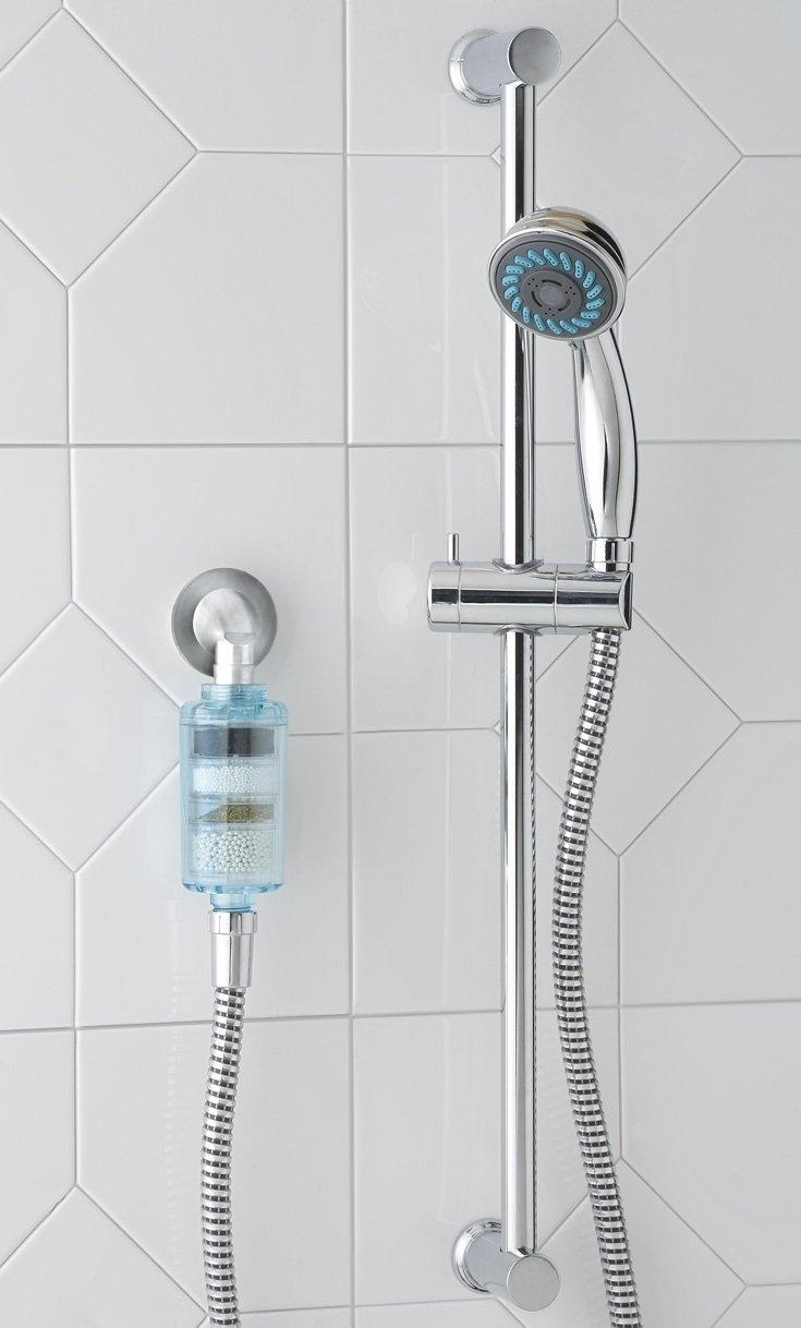 clear tinted dechlorinating shower filter removes 99 9 chlorine and softens. Black Bedroom Furniture Sets. Home Design Ideas