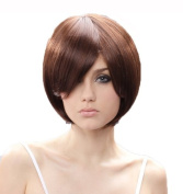 Cosplayland C1876 - 30cm short red brown chic BOB long Bang straight Face-Forming Wig
