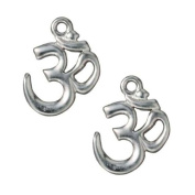 TierraCast Rhodium-Plated Pewter Om Symbol Pendant