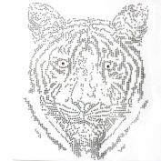 Rhinestone Iron Transfer Hot Fix Motif Fashion Design Jewellery Tiger Decoration 3 Sheets 7.4* 24cm