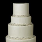 Silver White Beaded Crystal, Rhinestone & Pearl Satin Ribbon Wedding Cake Decorators