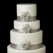 . Crystal & Rhinestone Flower Wedding Cake Decorators