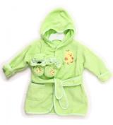 Spasilk 100% Cotton Hooded Terry Bathrobe with Booties, Green Duck, 0-9 Months