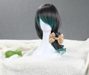 70cm Wavy Lolita Costume Cosplay Wig -- Gradient Black to Diamond Green
