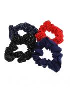 Set of 4 Polka Dot Hair Scrunchies - 1 Black, 1 Navy, 1 Red, 1 Royal Blue