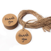 Seekingtag 100pcs Thank You Wedding Kraft Paper Tag Lolly Bag Bonbonniere Favour Gift Tag with Jute Twines
