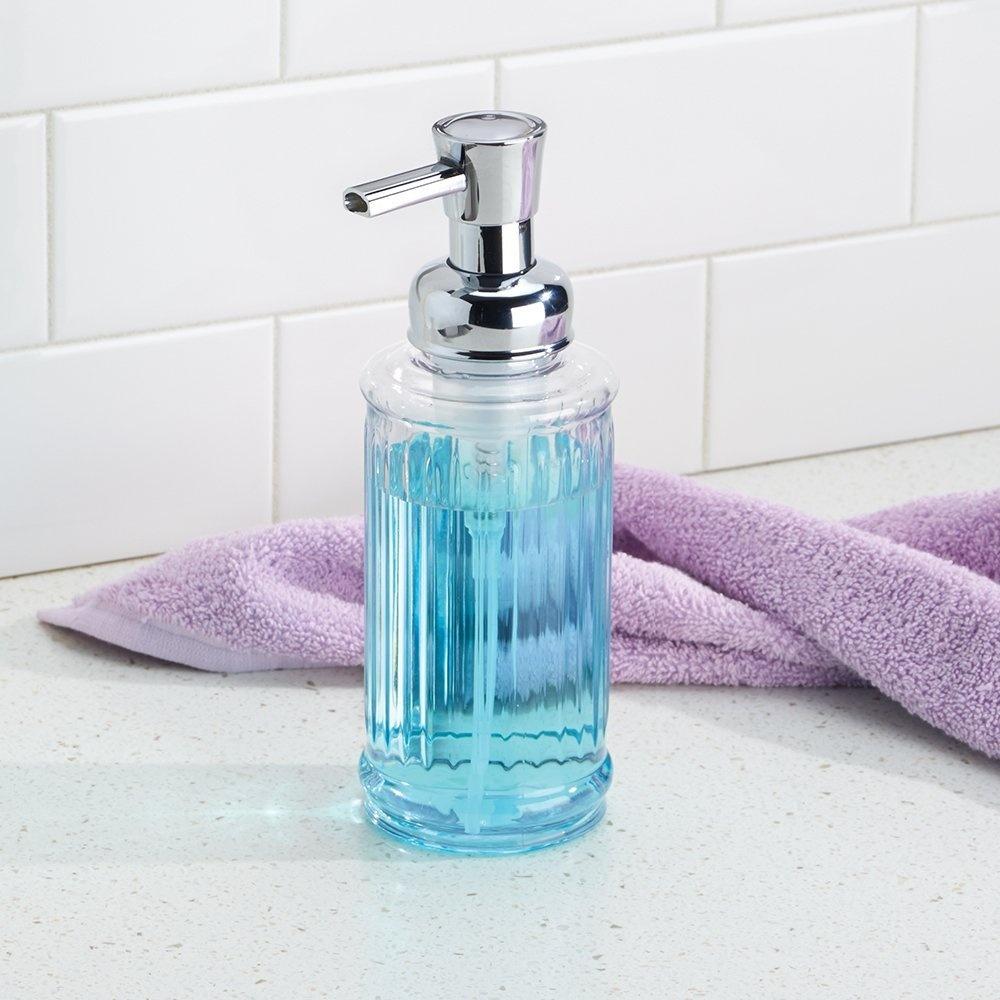 InterDesign-Ella-Foaming-Soap-Pump-Clear-Chrome-Brand-New