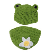 Elee Frog Baby Handmade Crochet Knit Hat & Nappy Cover Photography Prop Set