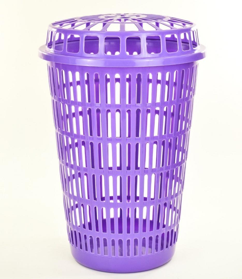 Circular Plastic Laundry Linen Basket Bin Storage Hamper