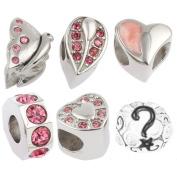 Timeline Treasures Stainless Steel Charm Bracelet Beads Rhinestone Fits Pandora Steel Pink 1