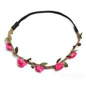 Rose Boho Garland Weave Wreaths Wedding Beach Floral Elastic Hairband by 24/7 store