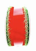 Jo-ann's Christmas Ribbon,red Velvet/green Tinsel, 3.8cm w X 9.1m