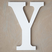 """The Lucky Clover Trading """"Y"""" Wood Block Letter, White"""