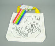 Childs Linen Colour in Bag with Felt Pens With Butterfly and Flowers