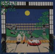 Furoshiki Cat and Autumn Moon Motif Japanese Fabric 50cm
