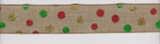 Burlap/Canvas Christmas Glitter Dot - 5 Yards