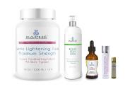 Whiteskin Essentials ,HP Bleach Oil 60ml, Triple Potency Peel Complex Skin Whitening Booster 60ml, Kojic Acid Bleaching Wash 500ml, & 0.5kg maximum Strength Body Bleaching Scrub