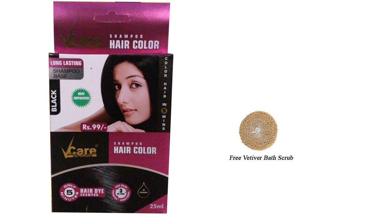 Pack Of 4 Vcare Shampoo Hair Colour Black  25ml  Free Vetiver Bath Scrub
