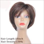 130 Density Human Hair Bob Wigs For Black Women Brazilian Short Hair Full Lace Wig With Bang