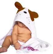 Baby Hooded Bath Towel - Cute Brown Puppy Dog Animal Design - Organic Cotton Material