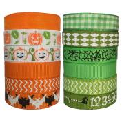 DUOQU 24 Yards 1cm 12 Styles ( 12x 2yd ) New Style Halloween Grosgrain Ribbon Plaid Ribbon Snow Yarn Printed Halloween Element Pattern Valued Packing Green And Orange Series