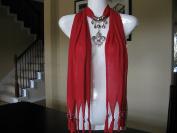 Red Fashion Jewellery Scarf w Jewellery Decoration Fleur De Lis Necklace Pendant