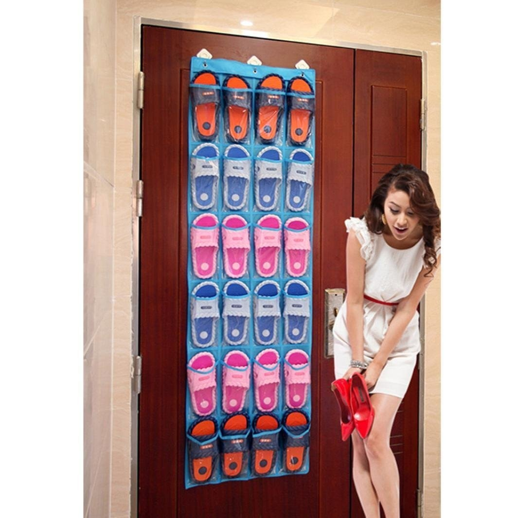 24-Pocket-Over-The-Door-Shoe-Organiser-Storage-Hanging-Bag-Clear-Collection-Pu