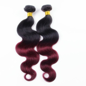 Babe Hair Kinky Curly 2 Bundles of 100g/pc 7A Brazilian Remy Human Hair Weft Extensions Ombre Black and Burgundy #1B/99J