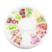Sc0nni 144pcs 3D FIMO Slice Fresh Fruit Face Decoration