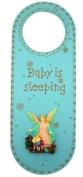 Baby is Sleeping 25cm Blue Boys Nursery Door Knob Hanger with Guardian Angel