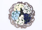 100 Pcs Mini Rose Mix Soft Blue Shade 10 mm Mulberry Paper Flowers Scrapbooking Wedding Decoration