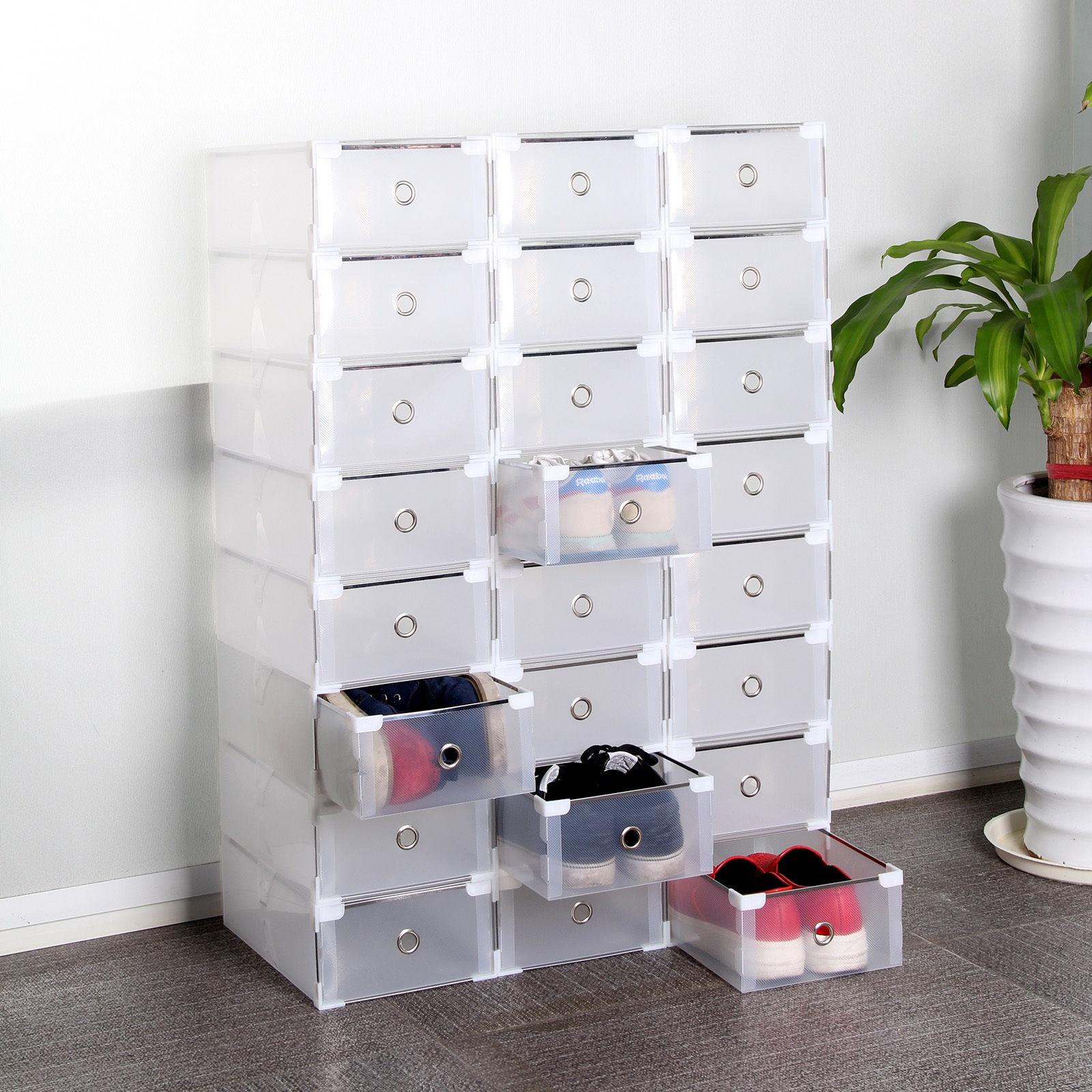 24-Foldable-Plastic-Shoe-Boxes-Organiser-Drawer-Stackable-Storage-Box-Transparen