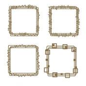 Square Doodle Frames Laser Cut Chipboard - 4 piece set