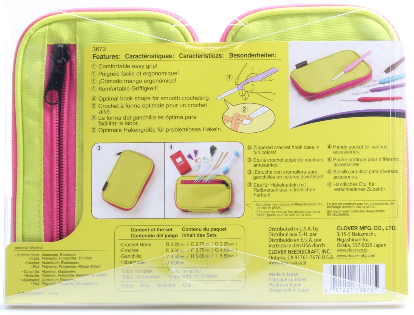 Clover 3673 Amour Crochet Hook Set With Zippered Case Size 10 Neon