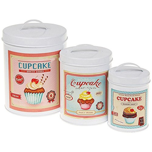 cupcake canisters for kitchen set of 3 cupcake tins canisters jars vintage retro storage kitchen biscuits new ebay 4871